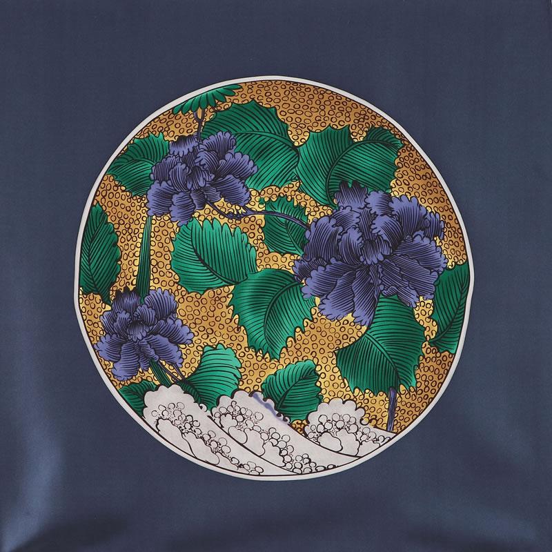 青手土坡に牡丹図大平鉢